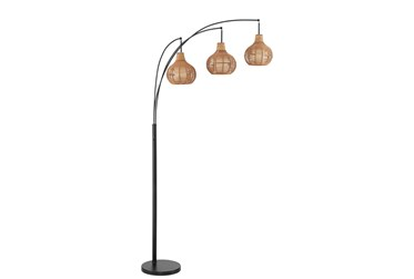 90.5 Inch 3-Lite Arc Lamp With Rattan Shade