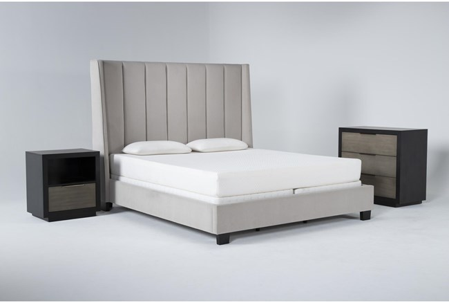 Topanga 3 Piece California King Velvet Upholstered Bed Set With Bayliss Bachelors Chest + Open Nightstand - 360