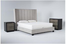 Topanga 3 Piece California King Velvet Upholstered Bed Set With Bayliss Bachelors Chest + Nightstand