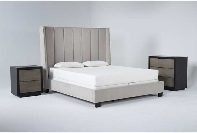 Topanga 3 Piece California King Velvet Upholstered Bed Set With Bayliss Bachelors Chest + Nightstand - 360