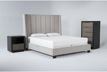 Topanga 3 Piece California King Velvet Upholstered Bed Set With Bayliss Chest Of Drawers + Open Nightstand