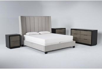 Topanga 4 Piece California King Velvet Upholstered Bed Set With Bayliss Dresser, Bachelors Chest + Nightstand