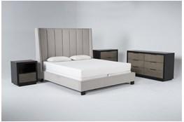 Topanga 4 Piece California King Velvet Upholstered Bed Set With Bayliss Dresser, Bachelors Chest + Open Nightstand