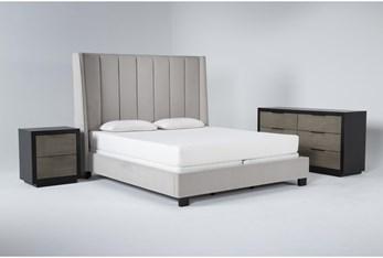 Topanga 3 Piece California King Velvet Upholstered Bed Set With Bayliss Dresser + Nightstand