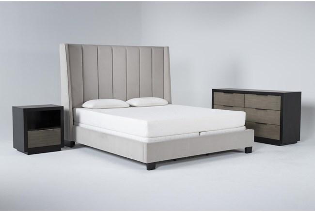 Topanga 3 Piece California King Velvet Upholstered Bed Set With Bayliss Dresser + Open Nightstand - 360