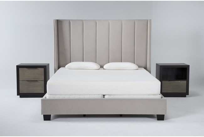 Topanga 3 Piece California King Velvet Upholstered Bed Set With Bayliss Nightstand + Open Nightstand - 360