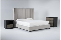 Topanga 3 Piece Eastern King Velvet Upholstered Bed Set With Bayliss Bachelors Chest + Open Nightstand