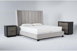 Topanga 3 Piece Eastern King Velvet Upholstered Bed Set With Bayliss Bachelors Chest + Nightstand