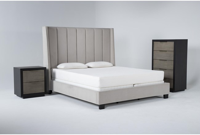 Topanga 3 Piece Eastern King Velvet Upholstered Bed Set With Bayliss Chest Of Drawers + Nightstand - 360