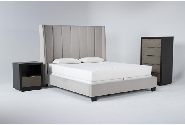 Topanga 3 Piece Eastern King Velvet Upholstered Bed Set With Bayliss Chest Of Drawers + Open Nightstand - 360