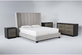 Topanga 4 Piece Eastern King Velvet Upholstered Bed Set With Bayliss Dresser, Bachelors Chest + Nightstand