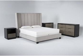 Topanga 4 Piece Eastern King Velvet Upholstered Bed Set With Bayliss Dresser, Bachelors Chest + Open Nightstand