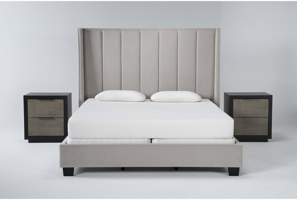 Topanga 3 Piece Eastern King Velvet Upholstered Bed Set With 2 Bayliss Nightstands