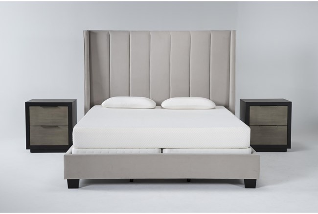 Topanga 3 Piece Eastern King Velvet Upholstered Bed Set With 2 Bayliss Nightstands - 360