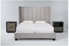 Topanga 3 Piece Eastern King Velvet Upholstered Bed Set With Bayliss Nightstand + Open Nightstand