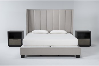 Topanga 3 Piece Eastern King Velvet Upholstered Bed Set With 2 Bayliss Open Nightstands