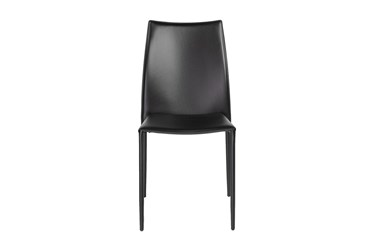 Wesson Black Faux Leather Stacking Side Chair - Set Of 2