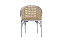 White And Natural Cane Barrel Back Arm Chair