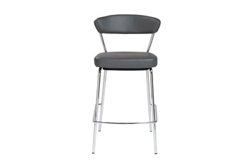 Grey Vegan Leather And Chrome Curved Back 26 Inch Counter Stool-Set Of 2