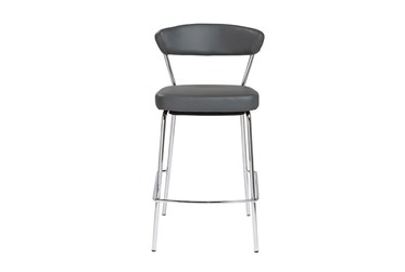 Grey Faux Leather And Chrome Curved Back 26 Inch Counter Stool-Set Of 2