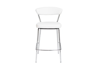 White Faux Leather And Chrome Curved Back 26 Inch Counter Stool-Set Of 2