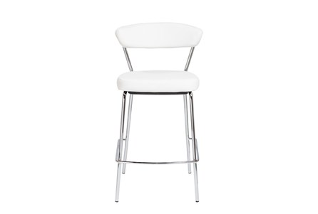White Faux Leather And Chrome Curved Back 26 Inch Counter Stool-Set Of 2 - Main
