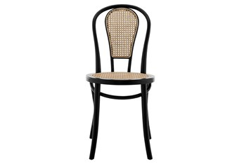 Weaver Matte Black And Natural Cane Side Chair - Set Of 2