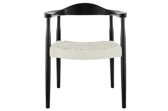 Zamani Matte Black And White Rope Armchair
