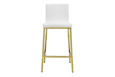White Faux Leather And Matte Brushed Gold 26 Inch Counterstool-Set Of 2