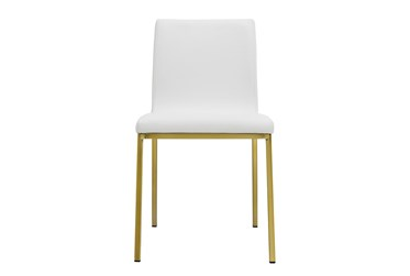 White Faux Leather And Matte Brushed Gold Side Chair-Set Of 2