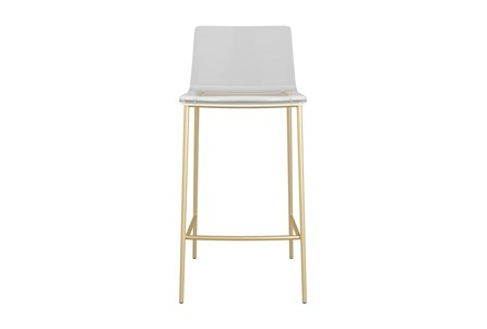 Rhea Clear Acrylic 26 Inch Counter Stool With Matte Brushed Gold Legs - Set Of 2 - Main