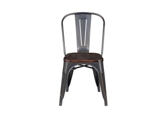 Weisman Antique Black And Walnut Stacking Side Chair - Set Of 4