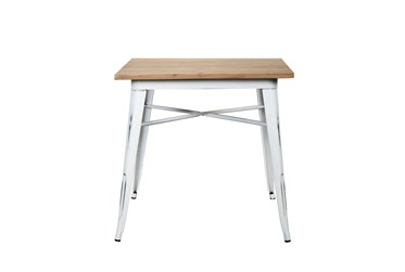 Weisman Antique White And Natural 32 Inch Square Dining Table