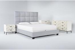 Boswell 4 Piece California King Upholstered Bedroom Set With Elden Dresser, Bachelors Chest + 2 Drawer Nightstand