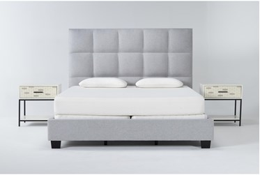 Boswell 3 Piece California King Upholstered Bedroom Set With Elden 2 Drawer Nightstand + 1 Drawer Nightstand