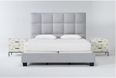 Boswell 3 Piece California King Upholstered Bedroom Set With 2 Elden 2 Drawer Nightstands