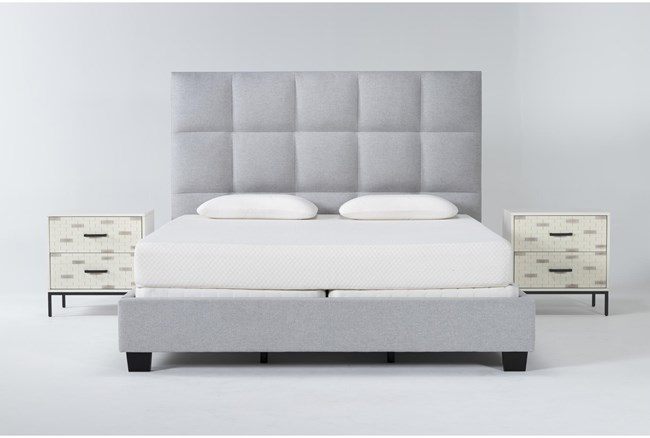 Boswell 3 Piece California King Upholstered Bedroom Set With 2 Elden 2 Drawer Nightstands - 360
