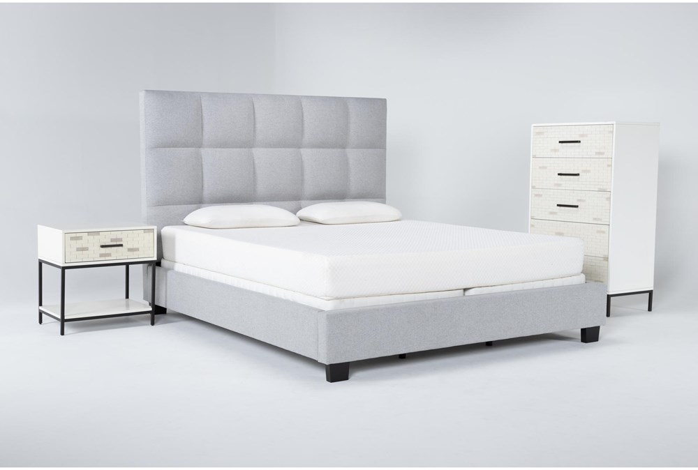Boswell 3 Piece California King Upholstered Bedroom Set With Elden Chest Of Drawers + 1 Drawer Nightstand