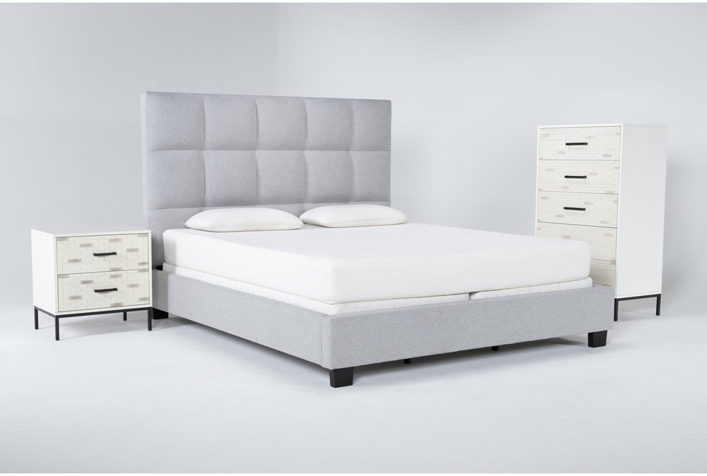Boswell 3 Piece California King Upholstered Bedroom Set With Elden Chest Of Drawers + 2 Drawer Nightstand