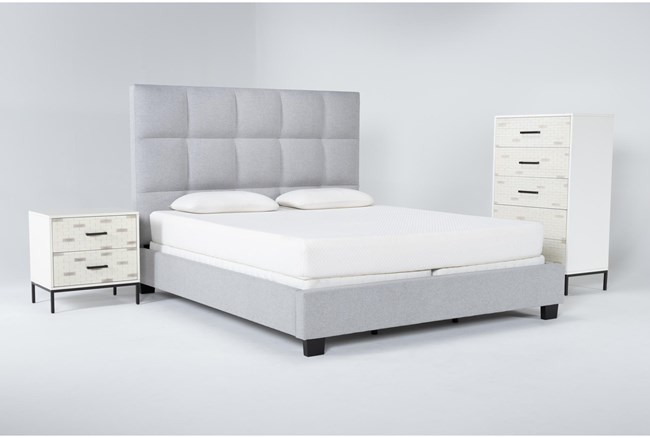 Boswell 3 Piece California King Upholstered Bedroom Set With Elden Chest Of Drawers + 2 Drawer Nightstand - 360