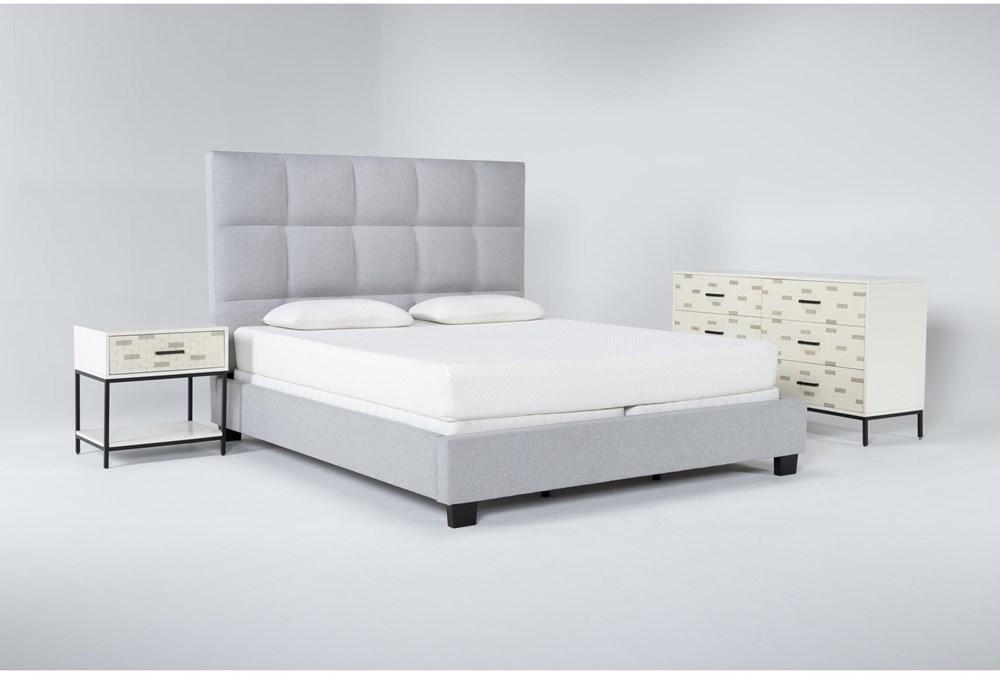 Boswell 3 Piece California King Upholstered Bedroom Set With Elden Dresser + 1 Drawer Nightstand