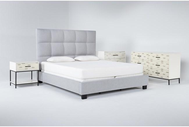 Boswell 4 Piece California King Upholstered Bedroom Set With Elden Dresser, Bachelors Chest + 1 Drawer Nightstand - 360