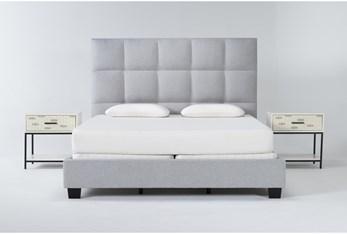 Boswell 3 Piece Eastern King Upholstered Bedroom Set With 2 Elden 1 Drawer Nightstands