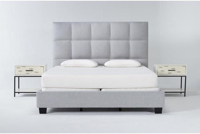 Boswell 3 Piece Eastern King Upholstered Bedroom Set With 2 Elden 1 Drawer Nightstands - 360
