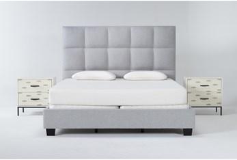 Boswell 3 Piece Eastern King Upholstered Bedroom Set With 2 Elden 2 Drawer Nightstands
