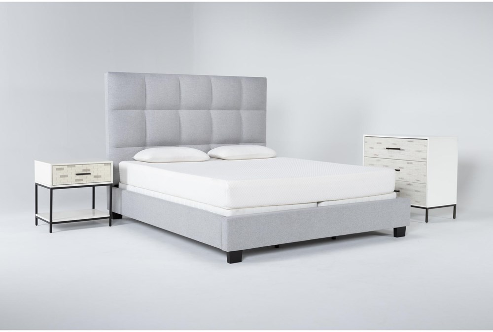 Boswell 3 Piece Eastern King Upholstered Bedroom Set With Elden Bachelors Chest + 1 Drawer Nightstand