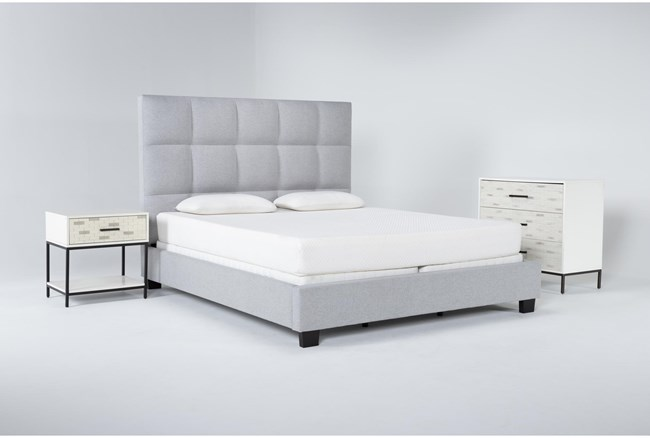 Boswell 3 Piece Eastern King Upholstered Bedroom Set With Elden Bachelors Chest + 1 Drawer Nightstand - 360