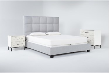 Boswell 3 Piece Eastern King Upholstered Bedroom Set With Elden Bachelors Chest + 2 Drawer Nightstand