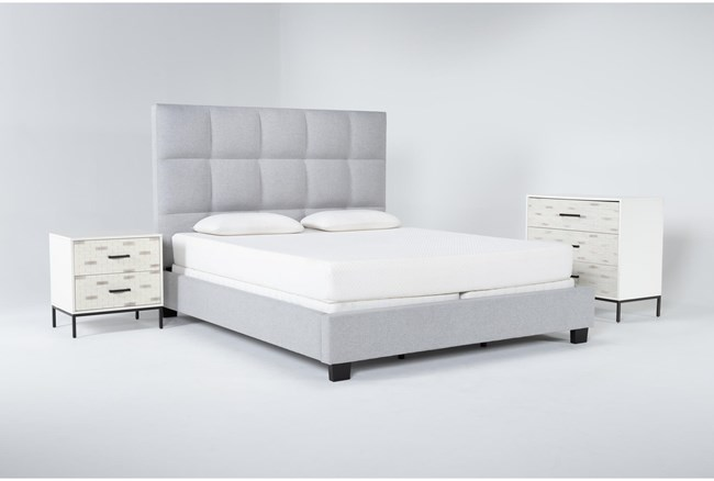 Boswell 3 Piece Eastern King Upholstered Bedroom Set With Elden Bachelors Chest + 2 Drawer Nightstand - 360