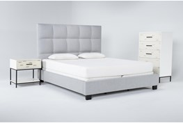 Boswell 3 Piece Eastern King Upholstered Bedroom Set With Elden Chest Of Drawers + 1 Drawer Nightstand